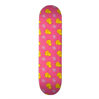 Cute pink baby chick easter pattern skate board
