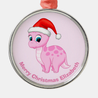 Cute Pink Baby Dinosaur with Santa Hat Christmas Ornament