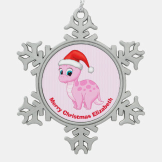Cute Pink Baby Dinosaur with Santa Hat Snowflake Pewter Christmas Ornament