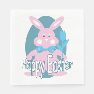 Cute Pink Baby Easter Bunny Napkin Paper Serviettes
