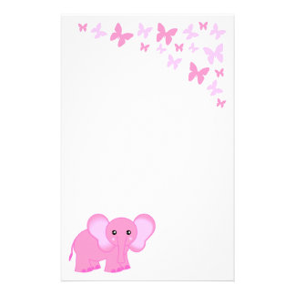 Cute Pink Baby Elephant And Butterflies Stationery