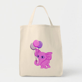 Cute Pink Baby Elephant Holding Shiny Balloons Grocery Tote Bag