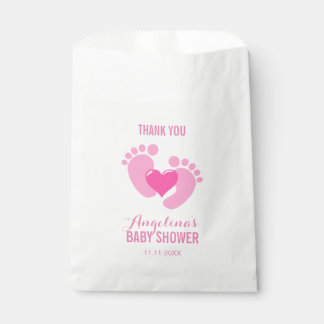 Cute Pink BABY FEET Heart Girl Baby Shower Favour Bags