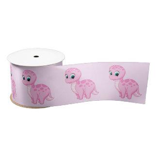 Cute Pink Baby Girl Dinosaur Satin Ribbon