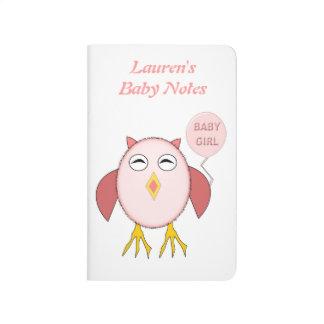 Cute Pink Baby Girl Owl Custom Baby Notes Book