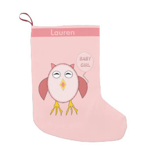 Cute Pink Baby Girl Owl Custom Christmas Stocking