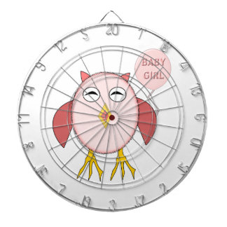 Cute Pink Baby Girl Owl Dart Board