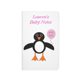 Cute Pink Baby Girl Penguin Custom Baby Notes Book