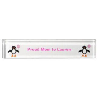 Cute Pink Baby Girl Penguin Custom Desk Nameplate