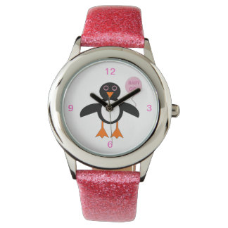 Cute Pink Baby Girl Penguin Glitter Watch