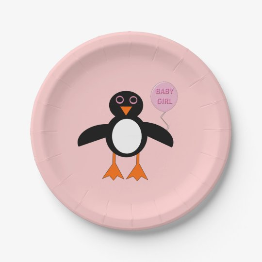 Cute Pink Baby Girl Penguin Paper Party Plates