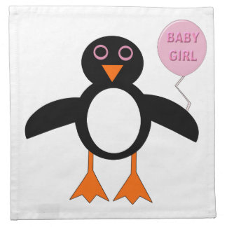 Cute Pink Baby girl Penguin Party Napkin