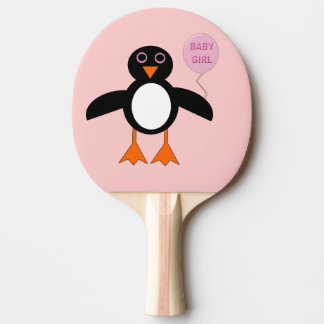 Cute Pink Baby Girl Penguin Ping Pong Paddle