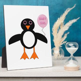 Cute Pink Baby Girl Penguin Plaque
