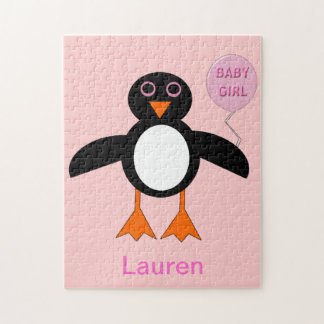 Cute Pink Baby Girl Penguin Puzzle