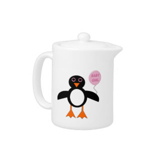 Cute Pink Baby Girl Penguin Teapot