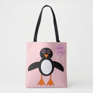Cute Pink Baby Girl Penguin Tote Bag