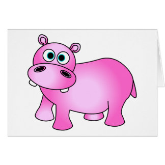 Cute Pink Baby Hippo Greeting Card