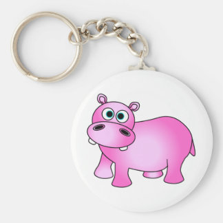 Cute Pink Baby Hippo Key Ring