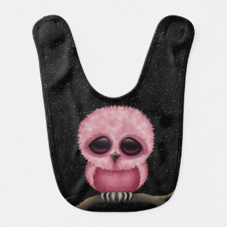 Cute Pink Baby Owl Chic with Stars Bib