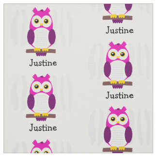 Cute Pink Baby Owls on Branches Fabric