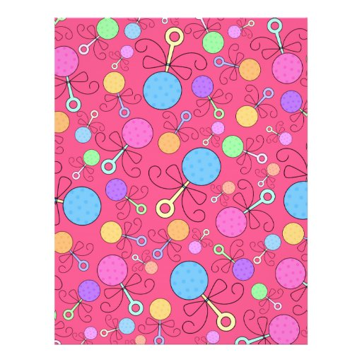 Cute pink baby rattle pattern custom flyer