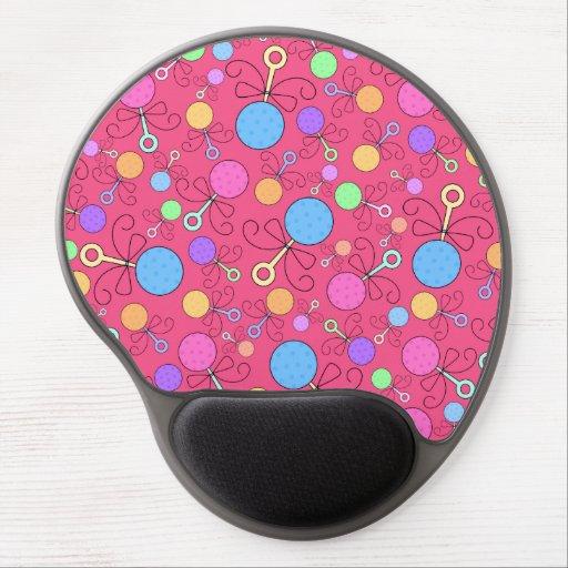 Cute pink baby rattle pattern gel mousepad