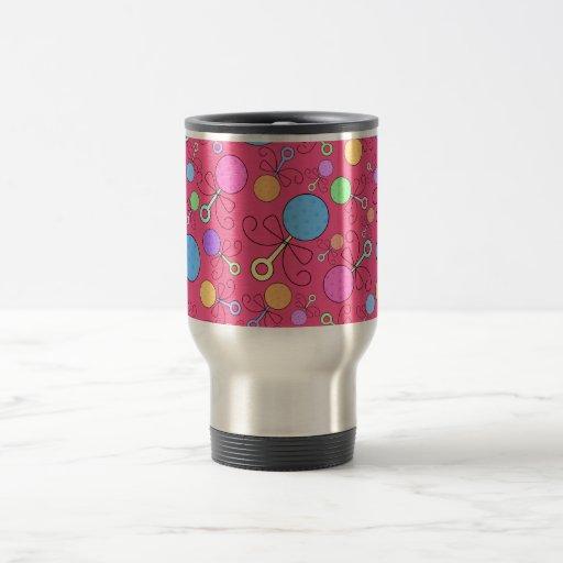 Cute pink baby rattle pattern mugs