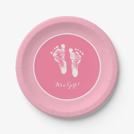 Cute Pink Baby Shower Newborn Girl Footprint Paper
