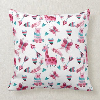 Cute pink baby themed throw pillow