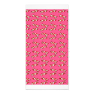 Cute pink bacon pattern customized photo card