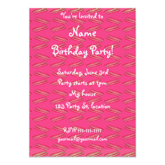 Cute pink bacon pattern 5x7 paper invitation card