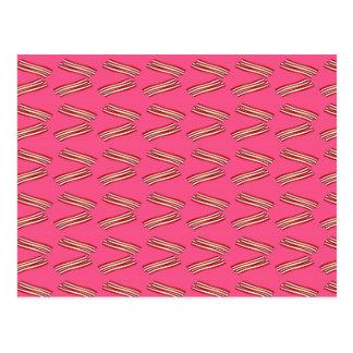 Cute pink bacon pattern postcard