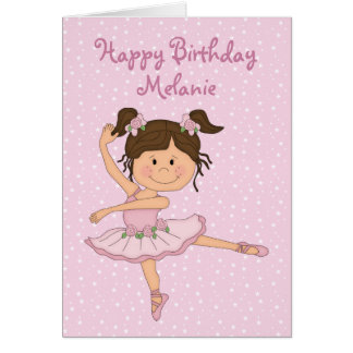 Cute Pink Ballerina 1 Birthday Card