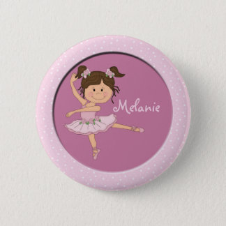 Cute Pink Ballerina 1 Custom Name 6 Cm Round Badge