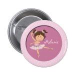 Cute Pink Ballerina 1 Custom Name Button