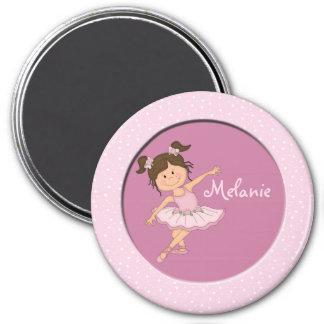 Cute Pink Ballerina 2 Custom Name Magnet