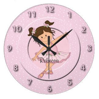 Cute Pink Ballerina 2 Large Clock