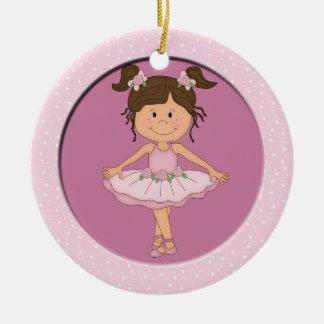 Cute Pink Ballerina 3 Ballet Star Christmas Ornament