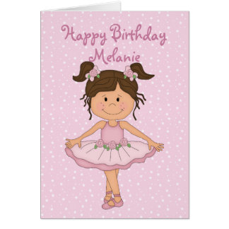 Cute Pink Ballerina 3 Happy Birthday Greeting Card