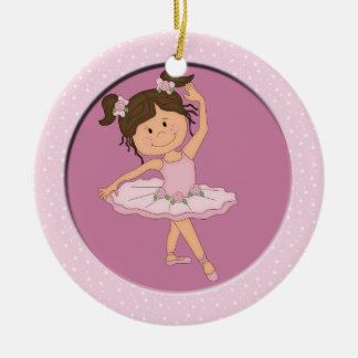 Cute Pink Ballerina 4 Ballet Star Christmas Ornament