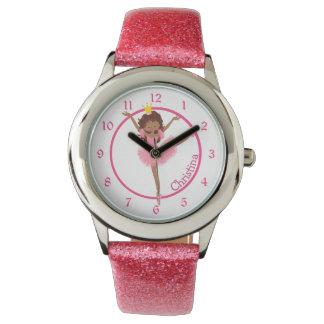 Cute Pink Ballerina Personalized Kids Watch