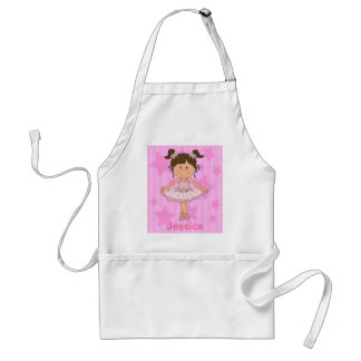 Cute Pink Ballet Girl On Stars and stripe Adult Apron
