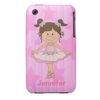 Cute Pink Ballet Girl On Stars and stripe Case-Mate iPhone 3 Cases