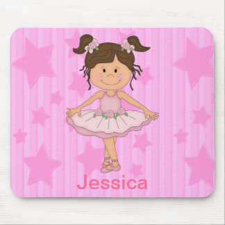 Cute Pink Ballet Girl On Stars and stripe Mouse Mat