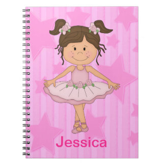 Cute Pink Ballet Girl On Stars and stripe Notebook