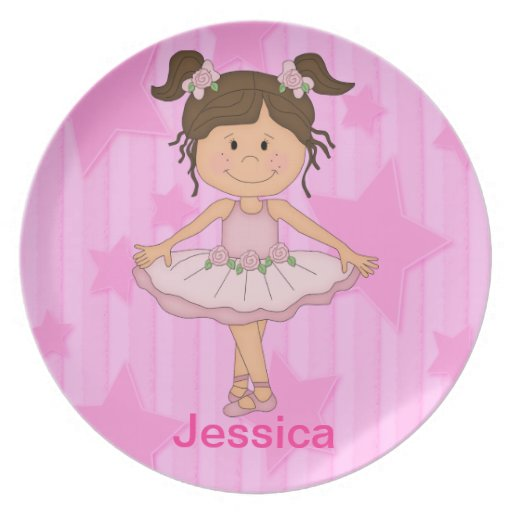 Cute Pink Ballet Girl On Stars and stripe Party Plates