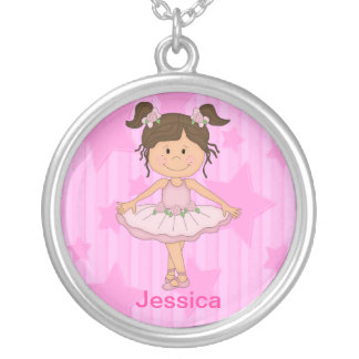 Cute Pink Ballet Girl On Stars and stripe Silver Plated Necklace