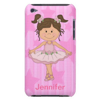 Cute Pink Ballet Girl On Stars and Stripes Barely There iPod Cover