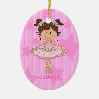 Cute Pink Ballet Girl On Stars and Stripes Christmas Ornament